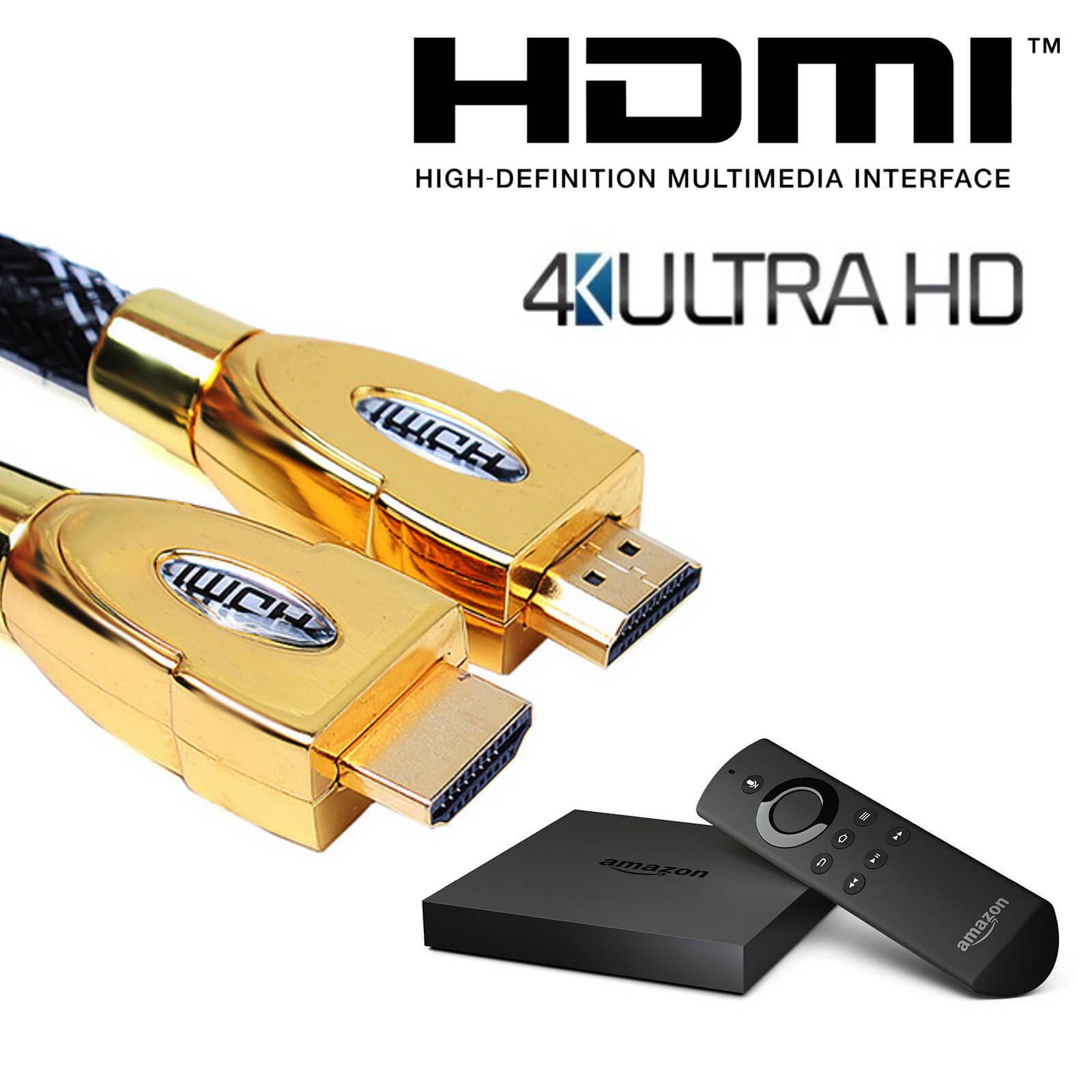 Amazon Fire TV HDMI to HDMI 4K Ultra HD TV 4m Gold Lead Wire Cord ...