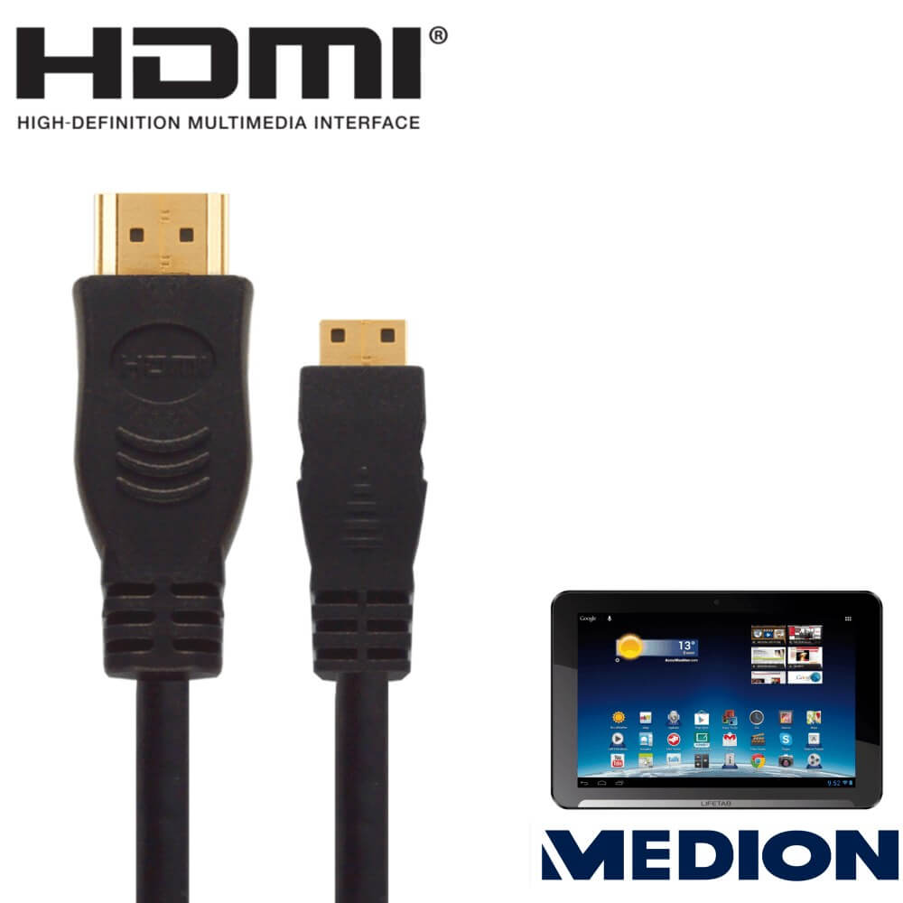 Medion Lifetab 10 1 Android Tablet Pc Hdmi Mini To Hdmi Tv 2 5m Gold Cord Wire Lead Cable Dorothy S Home