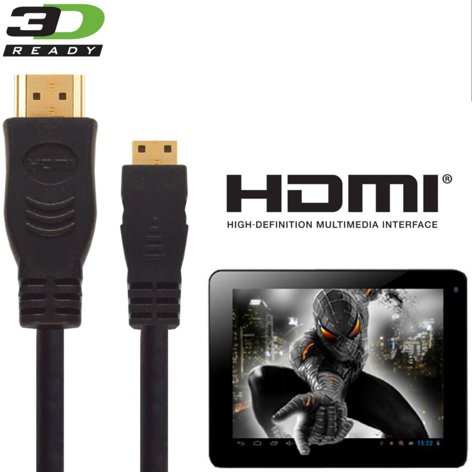 PolaTab Tablet PC HDMI Mini to HDMI TV 3m Gold Cord Wire Lead Cable ...