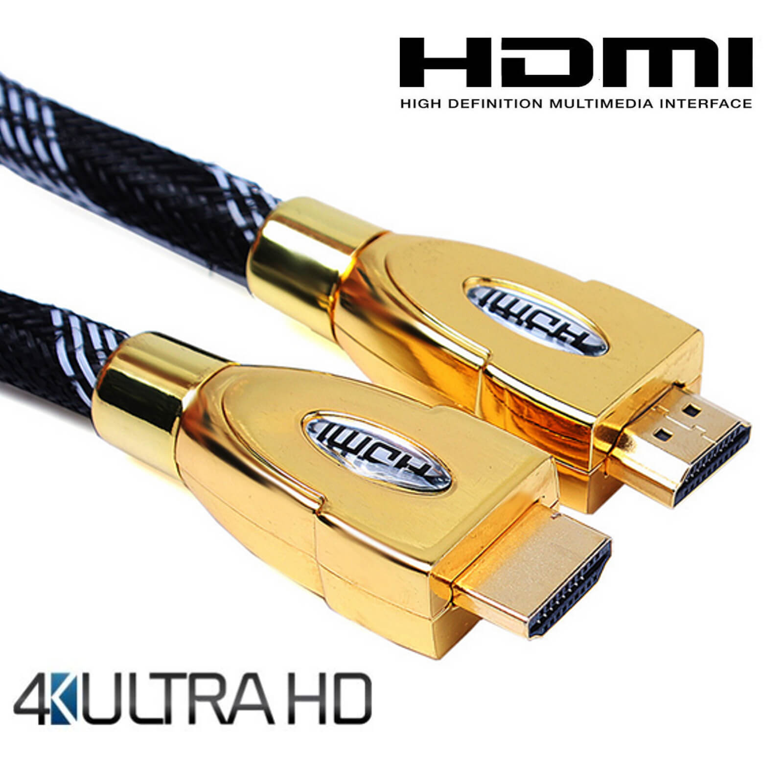 Roku 4 TV HDMI to HDMI 4K Ultra HD TV 4m Gold Lead Wire Cord Cable ...