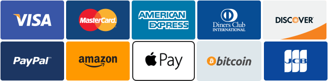 Accepted payment methods are Visa, MasterCard, American Express, Diners Club, Discover, PayPal, Amazon, Apple Pay, bitcoin and JCB